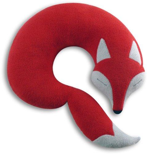Leschi REISEKISSEN für erholsamen Schlaf in Auto, Flugzeug und Camping-Bett/Reisegeschenk für Kinder und Erwachsene/waschbares Nackenkissen/Fuchs Peter, rot grau schwarz