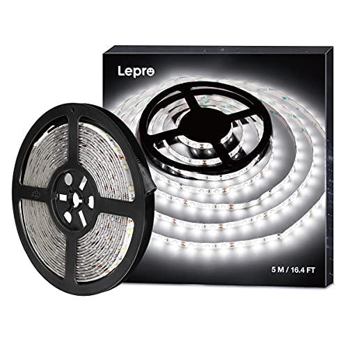 LE Striscia Luminosa LED 5M, Impermeabile IP65, 300 LED 2835 Luce Nastro Luminoso Bianco Freddo 6000K per Decorazioni Esterni ed Interni, Strisce Flessibile 12V per Soggiorno Angoli Bui Automobili
