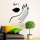 Manicura calcomanía de pared pegatinas manos de niña uñas belleza Interior diseño del hogar arte murales Spa salón de belleza decoración moda A7 57x59cm
