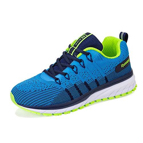 Straßenlaufschuhe Herren Damen Laufschuhe Fitness Turnschuhe Sneakers Air Sportschuhe Running Shoes(03-Blauer See,46EU)