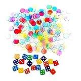 JZK 300 x Segnalini Colorati coprinumero tombola Trasparenti Copri Numeri + 20 x Dadi, contatori pedine Bingo gettoni Colorati plastica per tombola Accessori