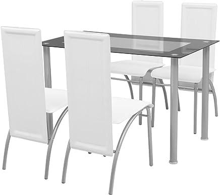 Sedie Da Abbinare A Tavolo Di Cristallo.Amazon It Tavolo Vetro Sedie Sala Da Pranzo Casa E Cucina