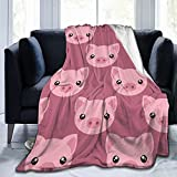 Gadimen Cute Cartoon Pig Flannel Fleece Throw Blanket, Super Soft Lightweight Blankets for All Season, Fleece Blankets for Couch/Bed, Fuzzy Plush Blanket for Home Decorations 50x40 inches