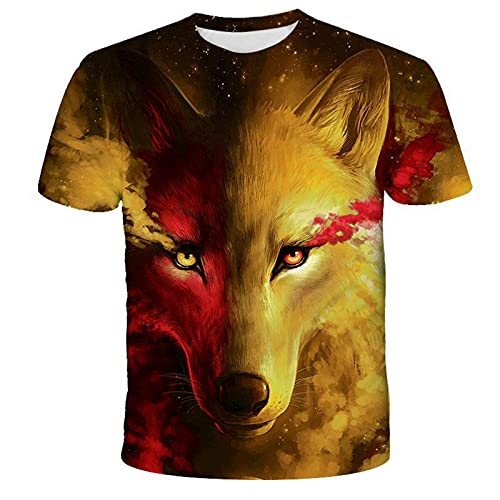 SSBZYES Camiseta para Hombre Verano Camiseta De Manga Corta para Hombre Camiseta De Gran Tamaño para Hombre Camiseta De Moda Camiseta De Manga Corta con Patrón De Lobo Camiseta Suelta De Verano