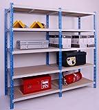 Profi-Schwerlast-Steckregal 300 GRUND 180x100x60cm, 5 Böden, 300KG/Boden blau/lichtgrau, Marke: Szagato (Lagerregal, Kellerregal, Werkstattregal, Regal)