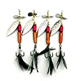 LENPABY 5PCS Bait/Feather Jigs Fishing Hooks,Rooster Tail, Fishing Spinner Spoon Lures Rotatable Inline Bass Trout Fishing Tackle Baits 9.5CM-13.9G Spinners,Spinnerbaits,Blade Spinner Baits