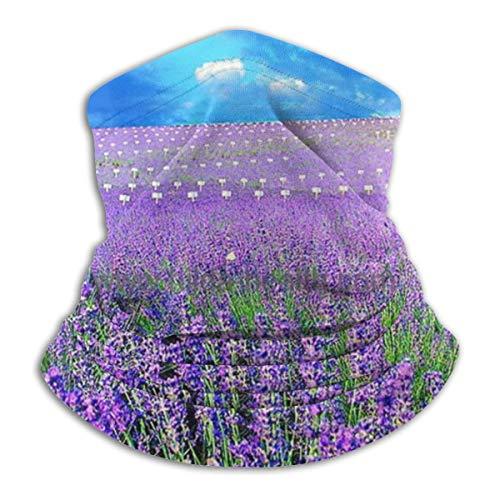 Akhy Multifunctional Headwear Face Mask Headband Neck Gaiter Lavender Flower Pattern Balaclava for Men and Women