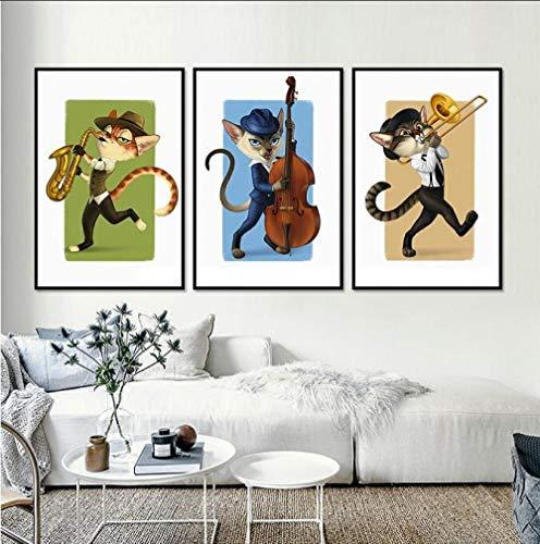 YTPC Tier Musikinstrument Leinwand Malerei Violine Katze Saxophon Persönlichkeit Poster Wandbilder Für Wohnzimmer Room-40x50cmx3 stücke kein Rahmen