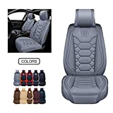 OASIS AUTO OS-004 Leather Car Seat Covers, Faux Leatherette Automotive Vehicle Cushion Cover for 5 Passenger Cars & SUV Universal Fit Set for Auto Interior Accessories (Front Pair, Gray)