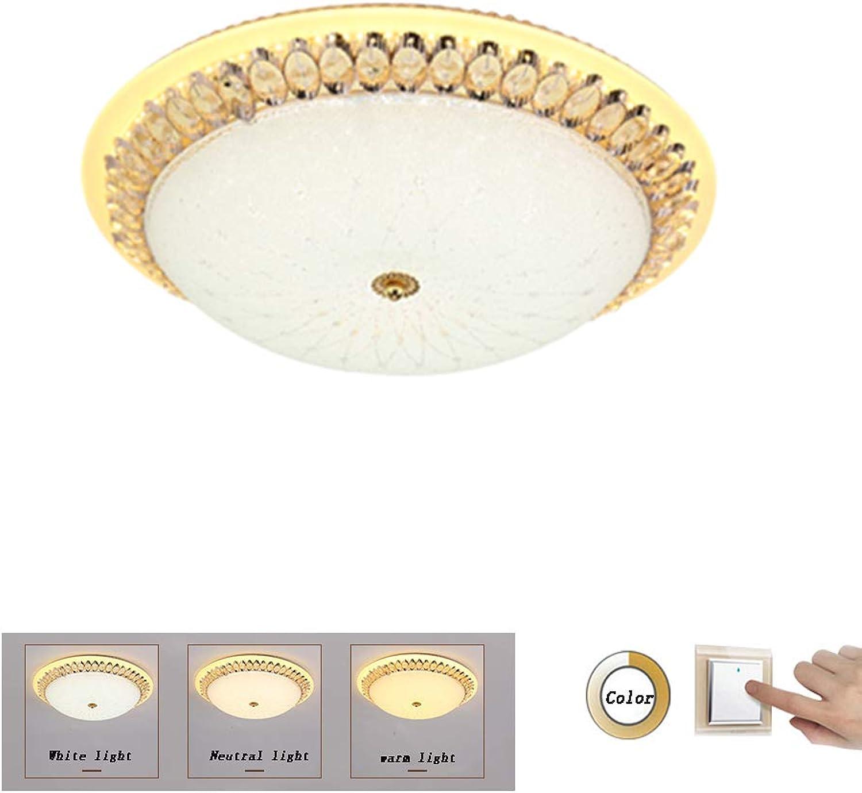 JDMYL LED-Deckenleuchte, europische Retro-Kristalllampe, Moderne minimalistische kreisfrmige Deckenleuchte, Wohnzimmer-Schlafzimmer-Korridor-Gang-Porch-Balkon-Deckenleuchten (Gre   40CM)