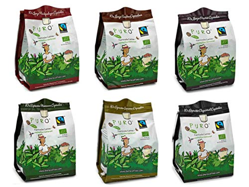Bio + Fairtrade - kompostierbare Kaffeekapseln von PURO, Nespresso kompatibel, 120 Stück Grosspackung aluminiumfrei (Mix-Sortiment)