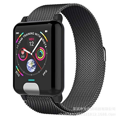 HKOEBST E04 Smart Wristband Bracelet, EKG-PPG-Herzfrequenz-Blut, Fitness-Tracker-Uhr, Schlafmonitor, Anruffunktion, 3D-Schnittstellenanzeige,Gray