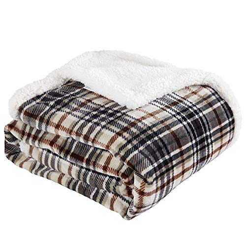 "Touchat Sherpa Plaid Throw Blanket, Fuzzy Fluffy Cozy Soft Blanket, Fleece Flannel Plush Twin Size Microfiber Blanket for Couch Bed Sofa (60"" X 70"", Plaid Brown)"