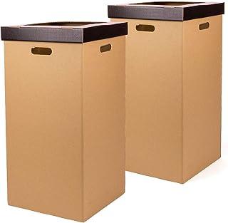 Kartox   Corbeille en carton   Poubelle avec couvercle   Couleur noire   Dimensions 34,2 x 34,2 x 68 cm   Pack de 2 unités