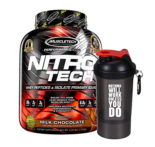 Muscletech Performance Series Nitrotech Naturally Flavored Whey Protein Peptides & Isolate - 4lbs (1.81 kg) (Milk Chocolate) with...