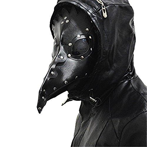 Kangkang@ Máscara de pájaro de la peste negra, máscara de doctor, nariz larga para cosplay, máscara exclusiva gótica steampunk, retro, de cuero, máscara de Halloween (negro)
