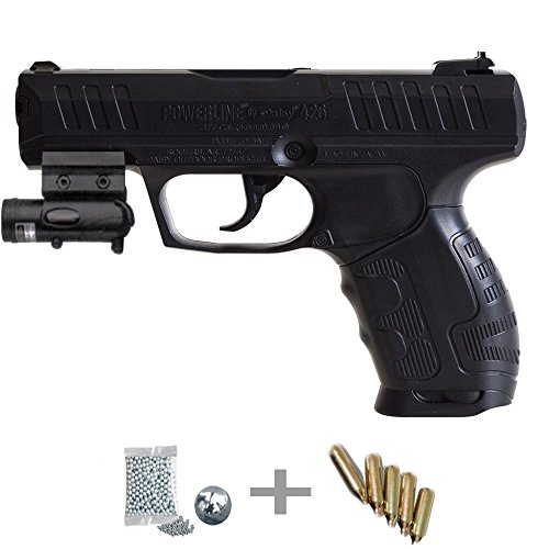 Daisy 426 láser Kit Pistola de Aire comprimido (CO2) y balines de Acero (perdigones BBS) Calibre 4.5mm + Accesorios <3,5J