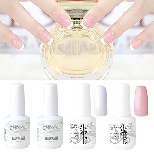 Vishine Kit Manicura Francesa Uñas de Gel Esmalte Semipermanente Color Gel + Top Base Coat Kit 4pcs Laca Soak Off UV LED Manicura Arte 15ml