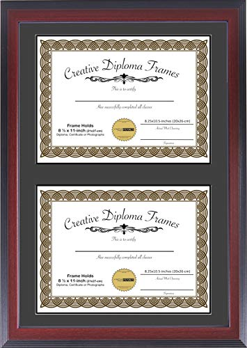 Creative Picture Frames 14x20 Mahogany Finish Double Diploma Frame with Black Matting Holds Two 8.5 x 11 -inch Media and Installed Wall Hangers