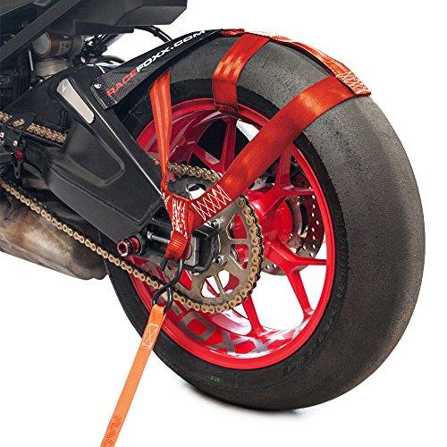 RACEFOXX Hinterrad Abspanngurt, Zurrgurt, Spanngurt, Transportsicherung Gurt für Hinterrad. Hinterreifen, Motorrad, Rot