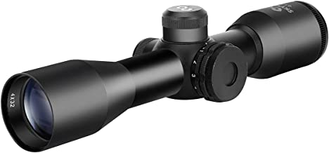 Skyvady 4x32 Short Rifle Scope,Hunting Crossbow Scope,Five-line Ranging Crosshair,Matte Black,1inch(with 20mm Rings)
