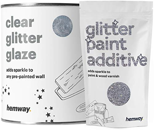 Hemway Clear Glitter Paint Glaze (Silver) 1L / Quart for Pre-Painted Walls Acrylic, Latex, Emulsion, Ceiling, Wood, Varnish, Dead Flat, Matte, Soft Sheen, Silk (Choice of 25 Glitter Colours)