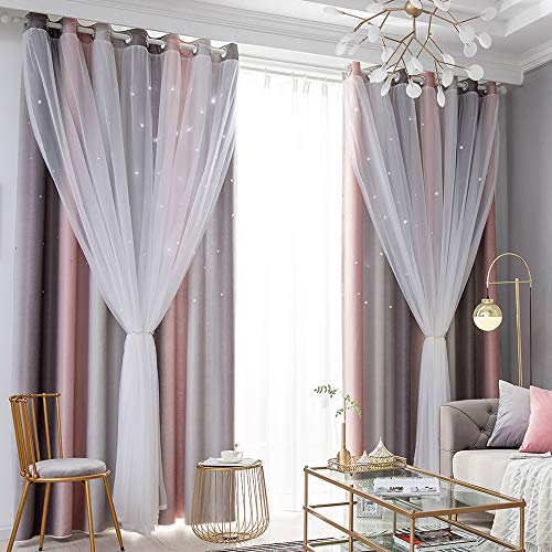 Gradient Ombre Stars Curtains Draperies for Kids Girls Bedroom Living Room Double Layers Blackout Gray Pink Grommet Window Curtains,Thermal Insulated 2 Panels,52x84 Inch