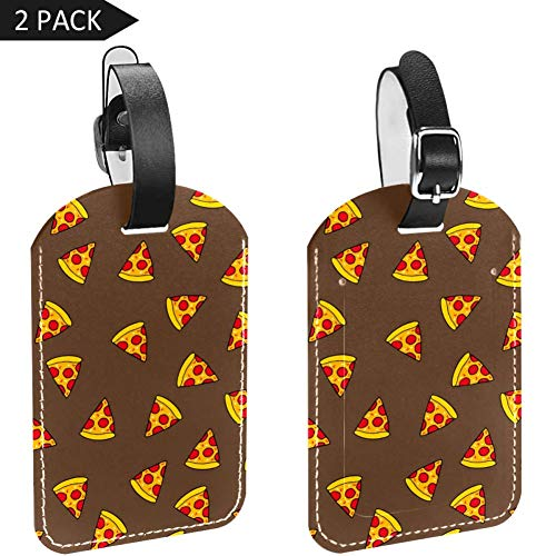 Luggage Tags Fruit Pizza Slices Leather Travel Suitcase Labels 2 Packs