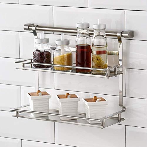 CLX 2 verdiepingen kruiden plank Geschikt voor wandmontage of in kast kruidenrek clips kruidenorganizer voor keukenmuur, bijkeuken