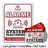 Autocollants dissuasifs Alarme, Stickers Alarme sécurité, 6x8cm, Lot de 8 Autocollants