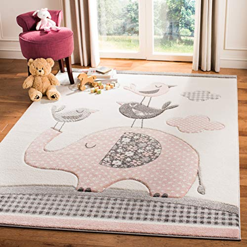 Pink and Ivory Elephant Area Rug Baby Girl Room, 8' x 10'
