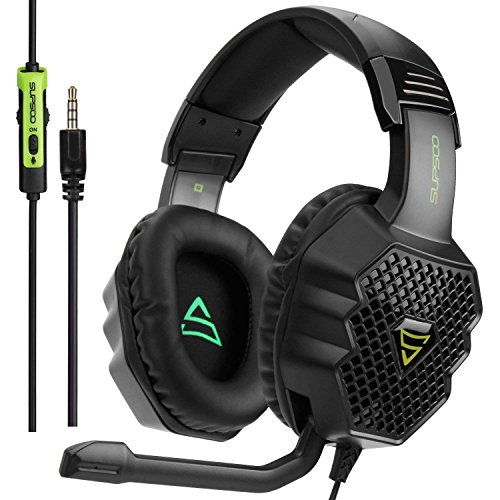 [Xbox One, PS4 Gaming Headset ]SUPSOO G811 Gaming Headset for New Xbox One, PS4 Controller,3.5mm Wired Over-ear Noise Isolating Microphone Volume Control for Mac/ PC/Laptop / PS4/Xbox One(Black&Green) Headsets