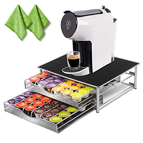 Deluxe Double Layer Storage Drawer Holder for Dolce Gusto K CUP Capsules 72 Coffee Pod Holder with 2 Pc Cleaning rags