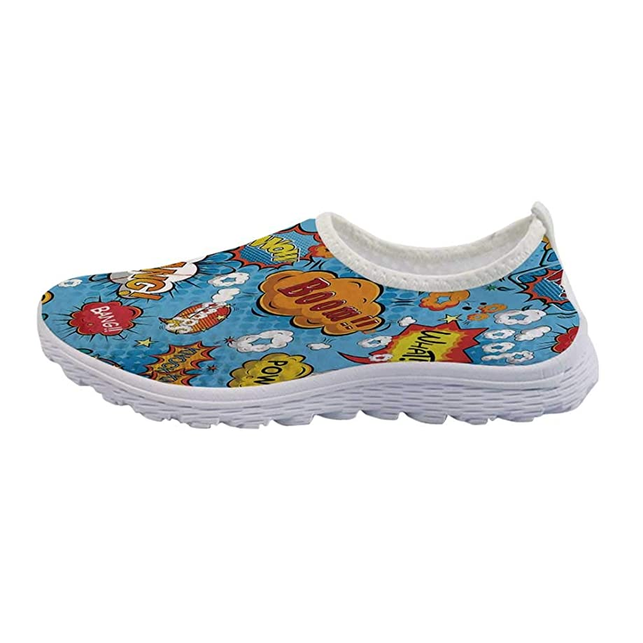 Sun and Moon Mesh Sneakers Running Shoes,Tropical Floral Swirls Ornate Sky Elements Curly Exotic Galaxy Representation Decorative for Women Girls,US Size 5
