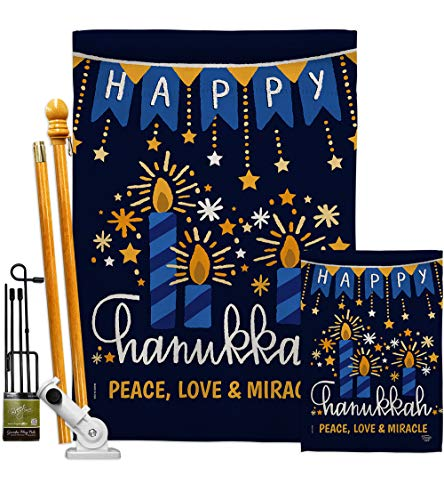 Ornament Collection Peace Love Happiness Garden House Flag Kit Winter Hanukkah Candle Bonsai Menorah Jewish Chanukah David Decoration Banner Small Yard Gift Double-Sided, 1 x 1 x, Thick Fabric