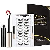 Magnetic Eyelashes with Eyeliner Kit, 10 Pairs Reusable 3D Magnetic Lashes with 2 Tubes of Magnetic Eyeliner, Glue-free Natural Look False Eye Lashes Kit with Tweezers