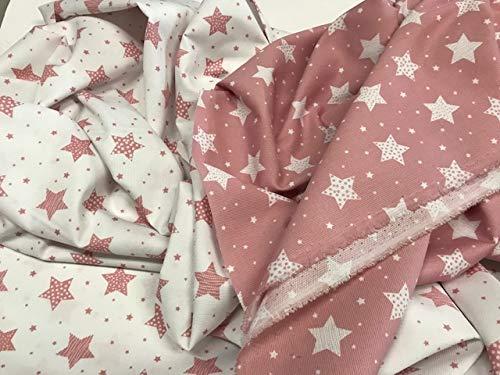 tela de piqué, tela de canutillo estampado ESTRELLAS GRANDES ROSA MAQUILLAJE, telas infantiles, costura, telas por metros, 1 metro x 160 cms, ENVIOS GRATUITOS