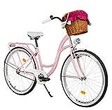 Milord Bikes Bicicletta Comfort Rosa a 1 velocità da 26 Pollici con cestello e Marsupio Posteriore, Bici Olandese, Bici da Donna, City Bike, retrò, Vintage