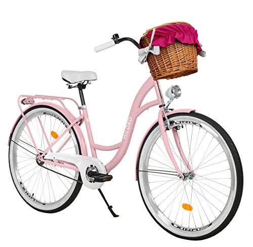 Milord. 26 Zoll 1-Gang rosa Komfort Fahrrad mit Korb und Rückenträger, Hollandrad, Damenfahrrad, Citybike, Cityrad, Retro, Vintage