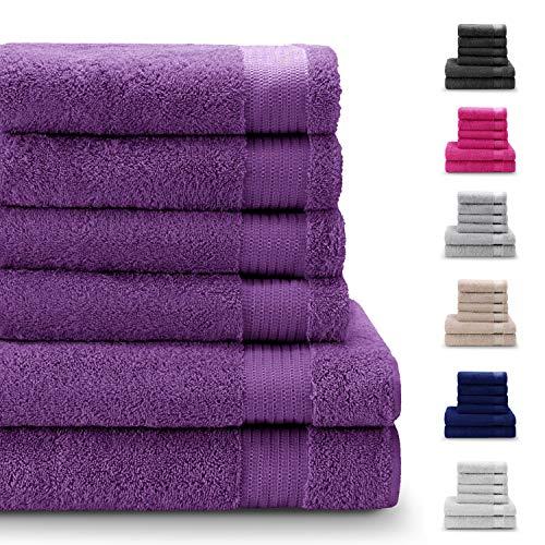 Twinzen Chemikalien-Frei Handtuch Set (6-Teilig) mit 4 Handtücher und 2 Badetüchern, 100{d30a9fb48f34683f02597abbac405c86bc1748056cf9104bcf01580d5f4ea443} Baumwolle - Oeko TEX Std 100 Zertifizierung - Weich und Saugstark - Waschmaschinenfest - Schwimmbad