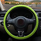 ZATOOTO Silicone Car Steering Wheel Cover – Cool Nonslip 3D Massage Hands 13 Inch - 16.5 Inch Ultra-Thin Light Weight Foldable Easy to Carry Green for Women Men Better Grip