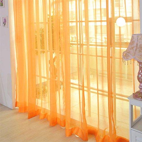 AFUT Pure Color Voile Window Net Voile Curtain Panels For Living Room,Office;100CM X 200CM(Orange)