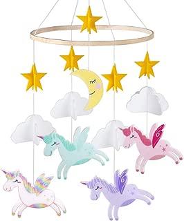 Beinou Crib Mobile Rainbow Unicorn Baby Mobile Hanging Felt Mobile Infant Wood Crib Mobile Cloud Felt Mobile Nursery for Baby Boys and Girls Room Decoration