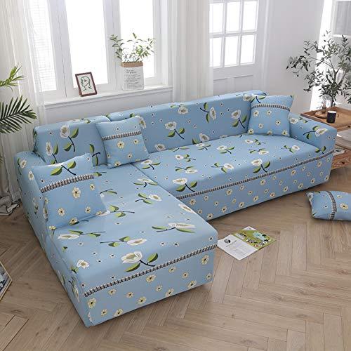 MYYU Protector De Muebles Elásticaidad Fundas para Sofa,Poliéster Spandex Elástica L-Tipo Funda Sofa Ajustables,En Forma De L Impreso La Funda para Sofa para Salon-Vainilla 145-185cm(57-73')