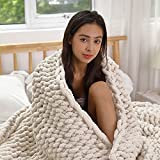ERLYEEN Chunky Knit Blanket Chenille Cable Throw Warm Soft Large Handmade Blanket for Sofa Bed Home,Beige 40''x60''(Love Seat)