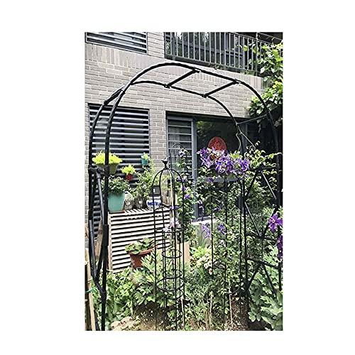 Gartenbögen, eiserne Rosenlaube, Clematis-Klettergerüst für alle Arten von Kletterpflanzen Gartengarten Hinterhof im Freien/Schwarz / 280CM