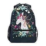 ZZKKO Floral Animal Unicorn Computer Backpacks Book Bag Travel Hiking Camping Daypack