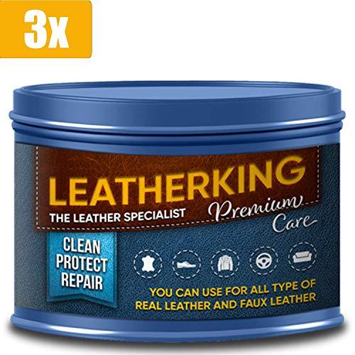 LeatherKing - Natürliche Anti-Aging Lederpflege, 350ml | Lederbalsam für Auto, Lederjacke, Handtaschen, Ledercouch, Schuhe, Pferde Sattel und vieles mehr - Premium Lederfett (3 Dosen)