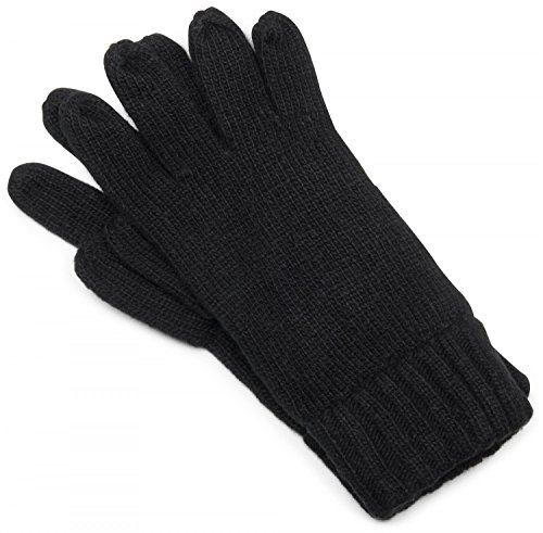 styleBREAKER klassische Handschuhe, warme Strickhandschuhe mit doppeltem Bund, einfarbig, Fingerhandschuhe, Unisex 09010005, Farbe:Schwarz;Größe:L-XL