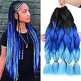 Ombre Jumbo Braiding Hair Extensions 24 Inch High Temperature Synthetic Fiber Braids Hair Extensions for Crochet Twist Braiding Hair(24inch 5pcs, black /dark blue/light blue)